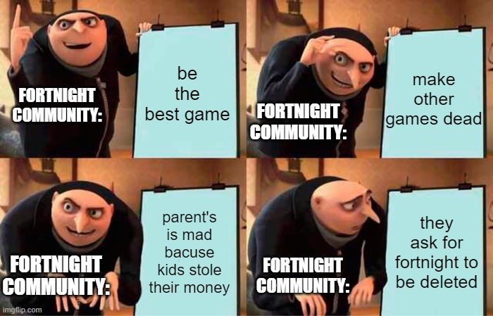 fortnight community be like: |  make other games dead; be the best game; FORTNIGHT COMMUNITY:; FORTNIGHT COMMUNITY:; parent's is mad bacuse kids stole their money; they ask for fortnight to be deleted; FORTNIGHT COMMUNITY:; FORTNIGHT COMMUNITY: | image tagged in memes,gru's plan,fortnite,fortnite sucks,fun,funny | made w/ Imgflip meme maker