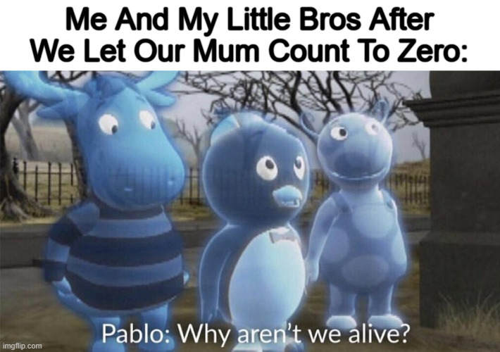 R.I.P Me And My Little Bros |  Me And My Little Bros After We Let Our Mum Count To Zero: | image tagged in pablo why aren't we alive,memes,mum,gifs,funny memes,dead | made w/ Imgflip meme maker