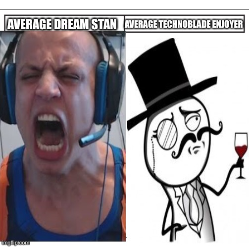 True |  AVERAGE DREAM STAN; AVERAGE TECHNOBLADE ENJOYER | image tagged in dream,vs,techno,in a nutshell | made w/ Imgflip meme maker