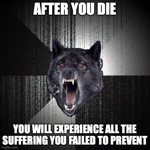 After you die... you will experience all the suffering you failed to prevent.