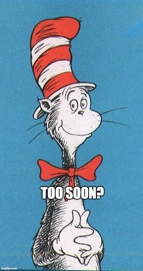 cat in the hat |  TOO SOON? | image tagged in cat in the hat | made w/ Imgflip meme maker