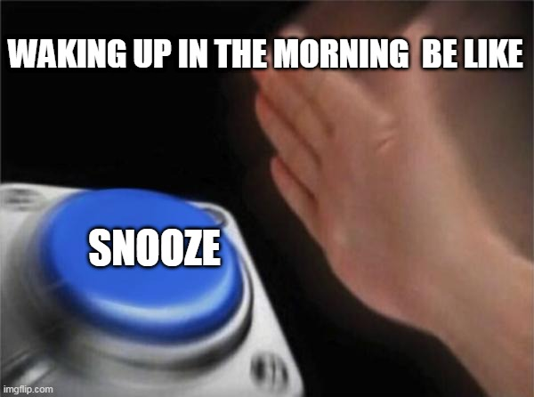 Blank Nut Button Meme |  WAKING UP IN THE MORNING  BE LIKE; SNOOZE | image tagged in memes,blank nut button | made w/ Imgflip meme maker