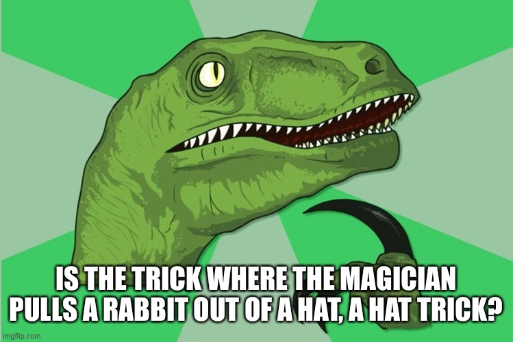 new philosoraptor |  IS THE TRICK WHERE THE MAGICIAN PULLS A RABBIT OUT OF A HAT, A HAT TRICK? | image tagged in new philosoraptor | made w/ Imgflip meme maker