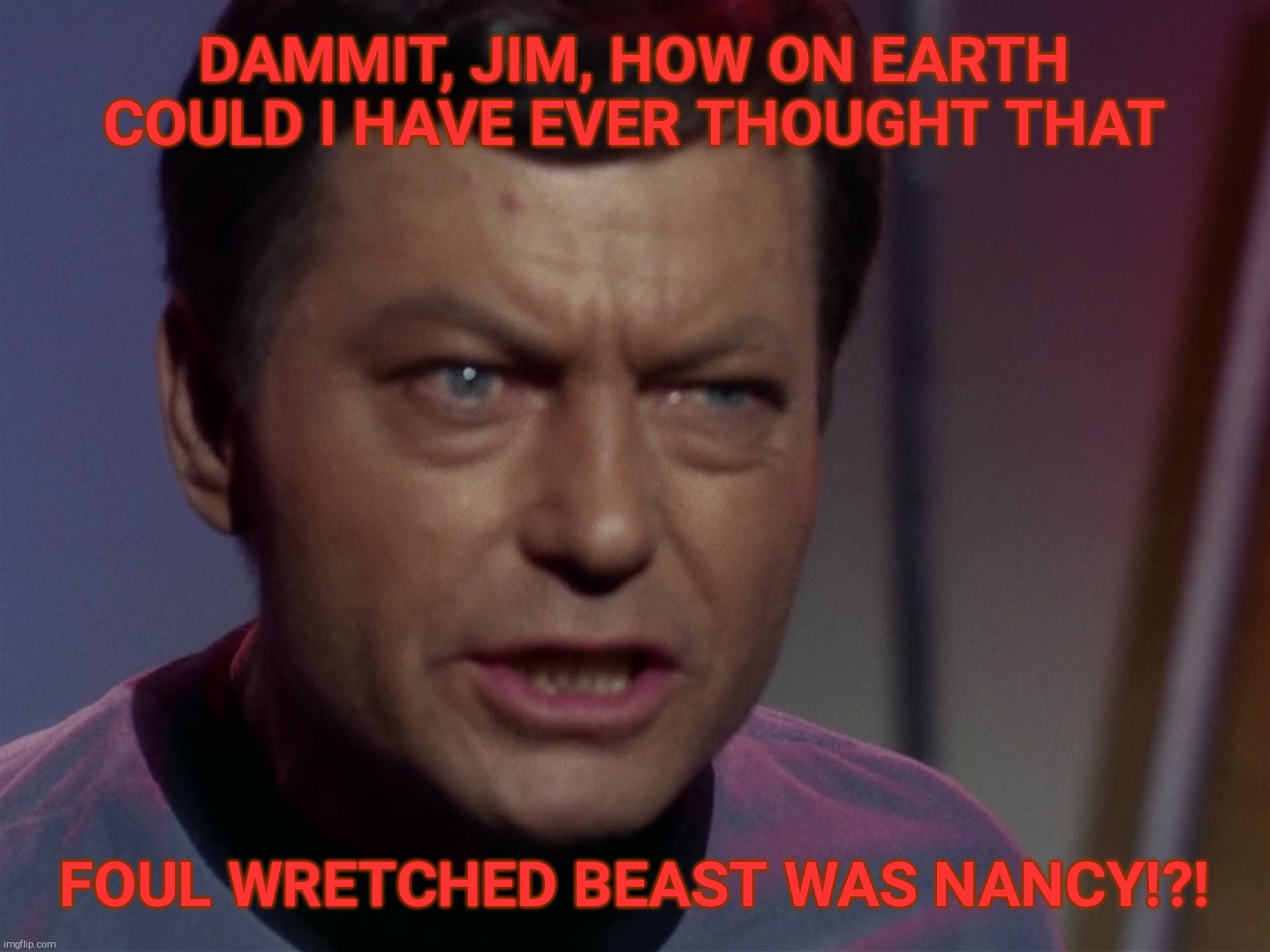 DAMMIT, JIM, HOW ON EARTH COULD I HAVE EVER THOUGHT THAT FOUL WRETCHED BEAST WAS NANCY!?! | made w/ Imgflip meme maker