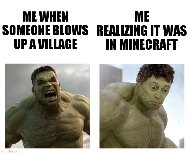 Oh, it was in Minecraft? |  ME REALIZING IT WAS IN MINECRAFT; ME WHEN SOMEONE BLOWS UP A VILLAGE | image tagged in hulk angry then realizes he's wrong | made w/ Imgflip meme maker
