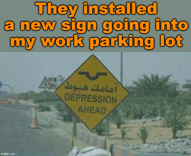 Signs of life |  They installed a new sign going into my work parking lot | image tagged in work,depression | made w/ Imgflip meme maker