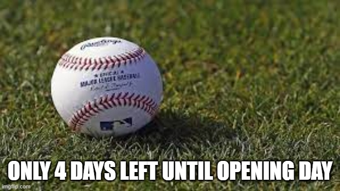 Baseball Generic |  ONLY 4 DAYS LEFT UNTIL OPENING DAY | image tagged in baseball | made w/ Imgflip meme maker