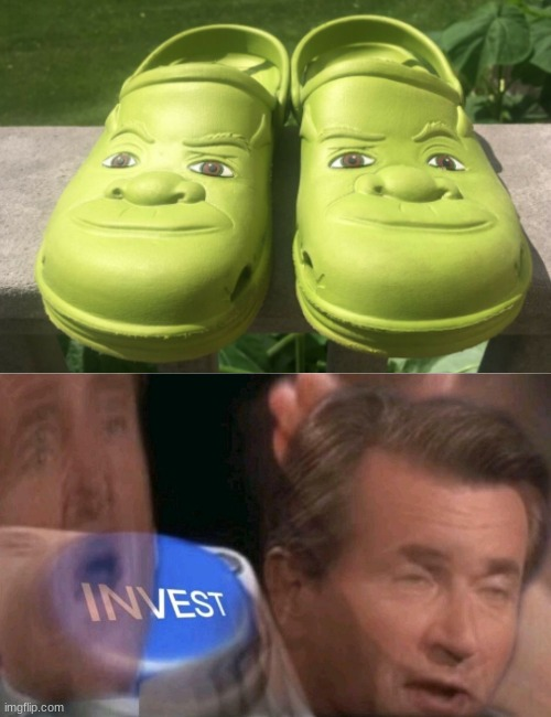 shrocs | image tagged in invest,crocs,shrek,memes,fun | made w/ Imgflip meme maker