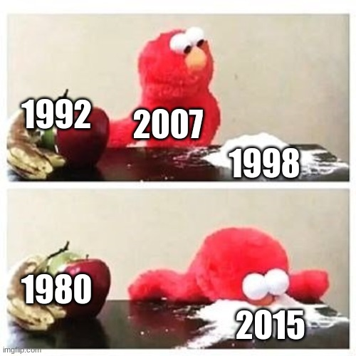 Elmo's Years |  1992; 2007; 1998; 1980; 2015 | image tagged in elmo cocaine,sesame street,2015,old | made w/ Imgflip meme maker
