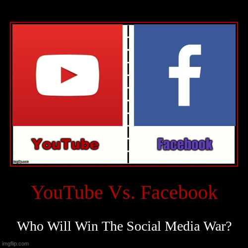 YouTube Vs. Facebook | YouTube Vs. Facebook | Who Will Win The Social Media War? | image tagged in demotivationals,social media,war | made w/ Imgflip demotivational maker