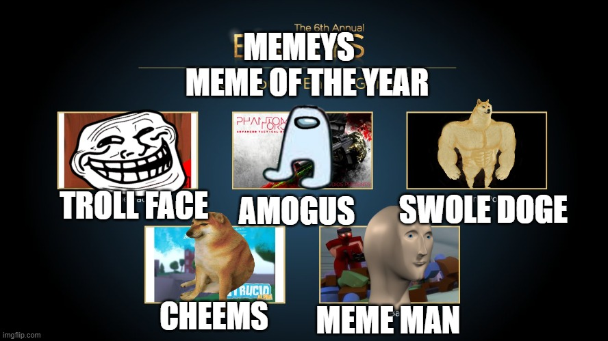 The 6th Annual Memeys |  MEMEYS; MEME OF THE YEAR; SWOLE DOGE; AMOGUS; TROLL FACE; CHEEMS; MEME MAN | image tagged in roblox,awkward moment sealion | made w/ Imgflip meme maker