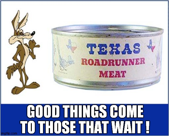 No More 'Beep Beep' ! |  GOOD THINGS COME TO THOSE THAT WAIT ! | image tagged in fun,road runner,wile e coyote | made w/ Imgflip meme maker