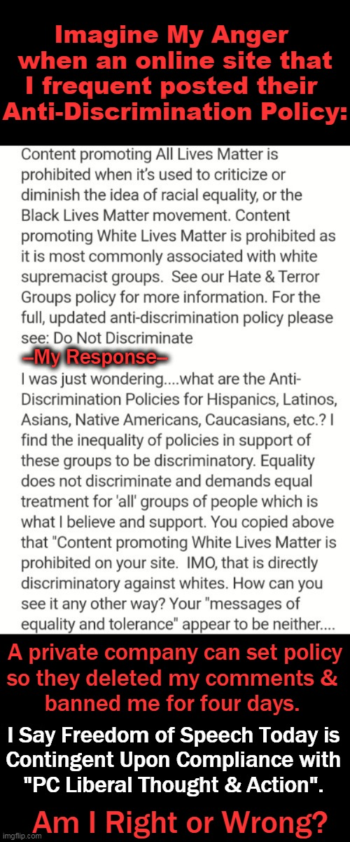 "All Lives Matter. If One Discriminates Against ANY Racial Group, One Is Supporting Racism. |  Imagine My Anger  when an online site that I frequent posted their  Anti-Discrimination Policy:; --My Response--; A private company can set policy so they deleted my comments &  banned me for four days. I Say Freedom of Speech Today is  Contingent Upon Compliance with  ""PC Liberal Thought & Action"". Am I Right or Wrong? 