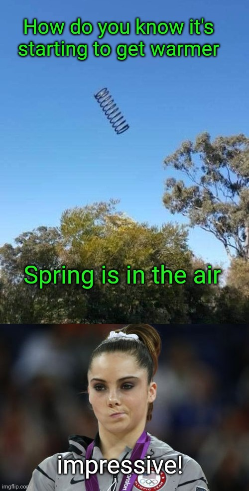 Spring is here |  How do you know it's starting to get warmer; Spring is in the air; impressive! | image tagged in memes,mckayla maroney not impressed,spring,funny memes,memes | made w/ Imgflip meme maker