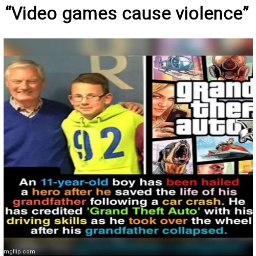 "noice |  ""Video games cause violence"" 