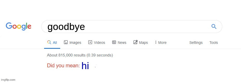 if google was this dumb |  goodbye; hi | image tagged in did you mean | made w/ Imgflip meme maker