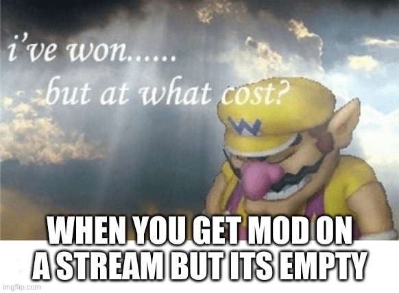 Wario sad |  WHEN YOU GET MOD ON A STREAM BUT ITS EMPTY | image tagged in wario sad | made w/ Imgflip meme maker