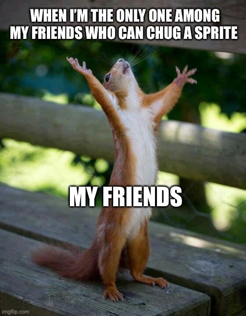 Praise the lord  |  WHEN I'M THE ONLY ONE AMONG MY FRIENDS WHO CAN CHUG A SPRITE; MY FRIENDS | image tagged in praise the lord | made w/ Imgflip meme maker