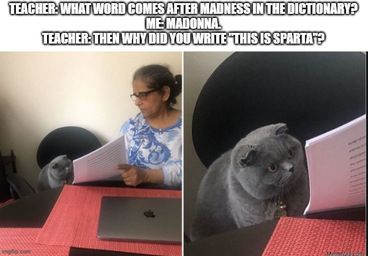 "This is Sparta |  TEACHER: WHAT WORD COMES AFTER MADNESS IN THE DICTIONARY? ME: MADONNA. TEACHER: THEN WHY DID YOU WRITE ""THIS IS SPARTA""? 