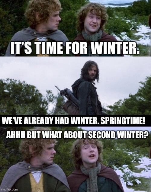 Second Winter |  IT'S TIME FOR WINTER. WE'VE ALREADY HAD WINTER. SPRINGTIME! AHHH BUT WHAT ABOUT SECOND WINTER? | image tagged in pippin second breakfast | made w/ Imgflip meme maker