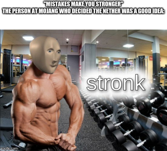 "Screw the nether. |  ""MISTAKES MAKE YOU STRONGER"" THE PERSON AT MOJANG WHO DECIDED THE NETHER WAS A GOOD IDEA: 