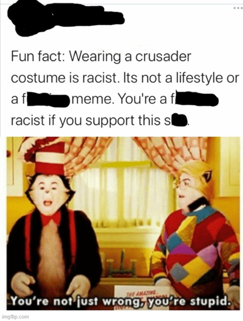 How is a crusader costume rasict? |  Fun fact: wearing a crusader costume is rascist. Its not a lifestyle or a f meme. You're a f racist if you support this s | image tagged in you're not just wrong your stupid,crusader,crusade,racist,christian,twitter | made w/ Imgflip meme maker
