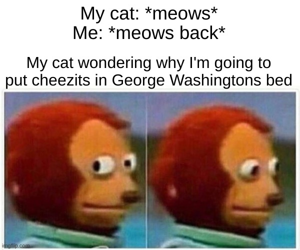 Cat language be like |  My cat: *meows* Me: *meows back*; My cat wondering why I'm going to put cheezits in George Washingtons bed | image tagged in memes,monkey puppet | made w/ Imgflip meme maker