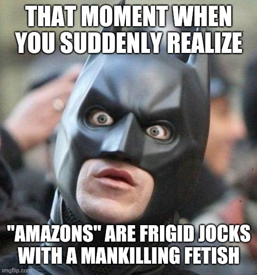 "Batman groks Wonder Woman 001 |  THAT MOMENT WHEN YOU SUDDENLY REALIZE; ""AMAZONS"" ARE FRIGID JOCKS WITH A MANKILLING FETISH 