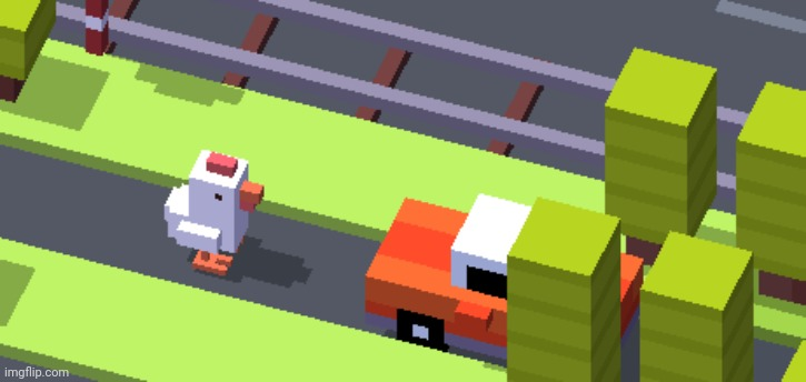 crossy road suicide | image tagged in crossy road suicide | made w/ Imgflip meme maker