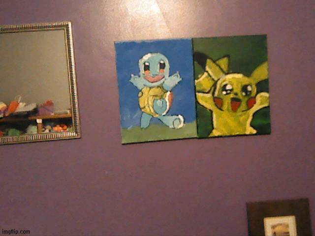My two paintings side by side | image tagged in painting,pokemon | made w/ Imgflip meme maker
