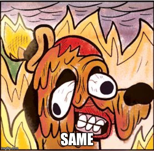 This is fine face melt | SAME | image tagged in this is fine face melt | made w/ Imgflip meme maker