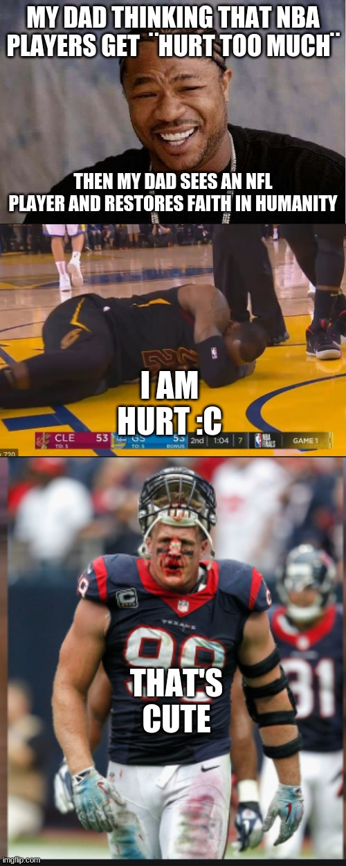 NFL vs NBA |  MY DAD THINKING THAT NBA PLAYERS GET  ¨HURT TOO MUCH¨; THEN MY DAD SEES AN NFL PLAYER AND RESTORES FAITH IN HUMANITY; I AM HURT :C; THAT'S CUTE | image tagged in memes,yo dawg heard you | made w/ Imgflip meme maker