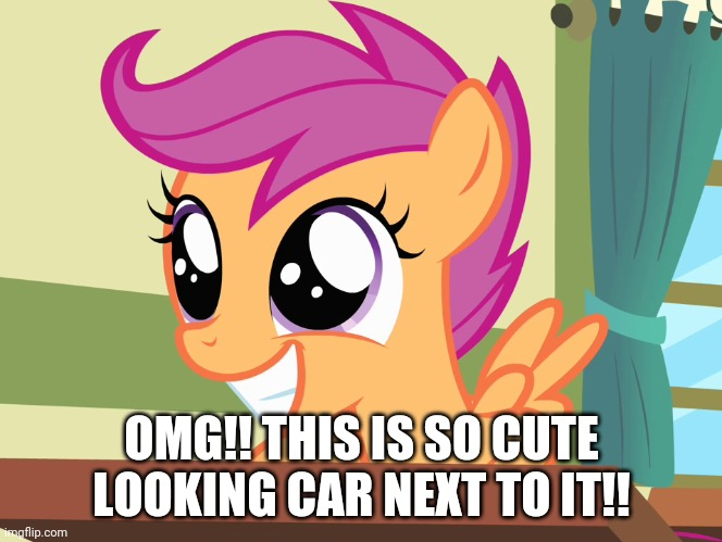 OMG!! THIS IS SO CUTE LOOKING CAR NEXT TO IT!! | made w/ Imgflip meme maker