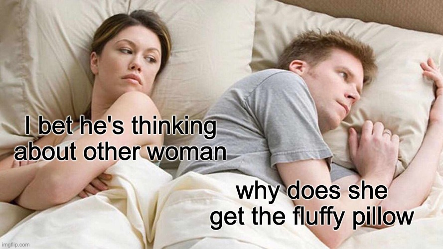 I Bet He's Thinking About Other Women Meme |  I bet he's thinking about other woman; why does she get the fluffy pillow | image tagged in memes,i bet he's thinking about other women | made w/ Imgflip meme maker
