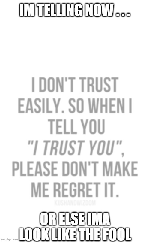 dont make me regret it |  IM TELLING NOW . . . OR ELSE IMA LOOK LIKE THE FOOL | image tagged in no regrets,dont make me,i trust u,for now,dont make this my mistake,let me know i was right to trust u | made w/ Imgflip meme maker