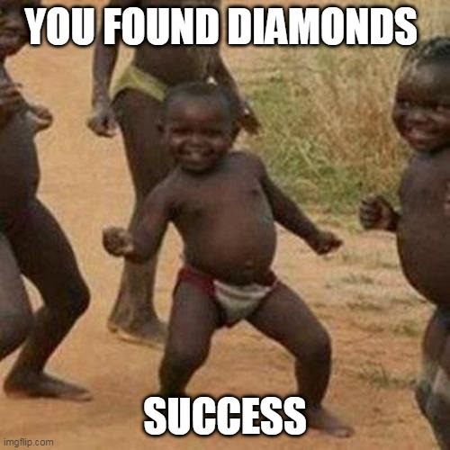 you found diamonds |  YOU FOUND DIAMONDS; SUCCESS | image tagged in memes,third world success kid | made w/ Imgflip meme maker