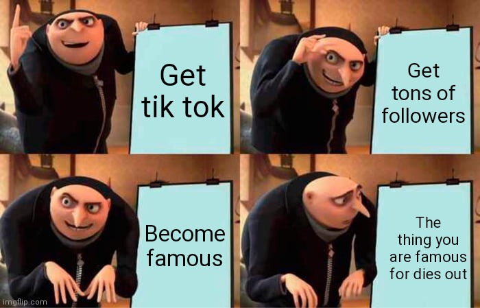 Gru's Plan |  Get tik tok; Get tons of followers; Become famous; The thing you are famous for dies out | image tagged in memes,gru's plan | made w/ Imgflip meme maker