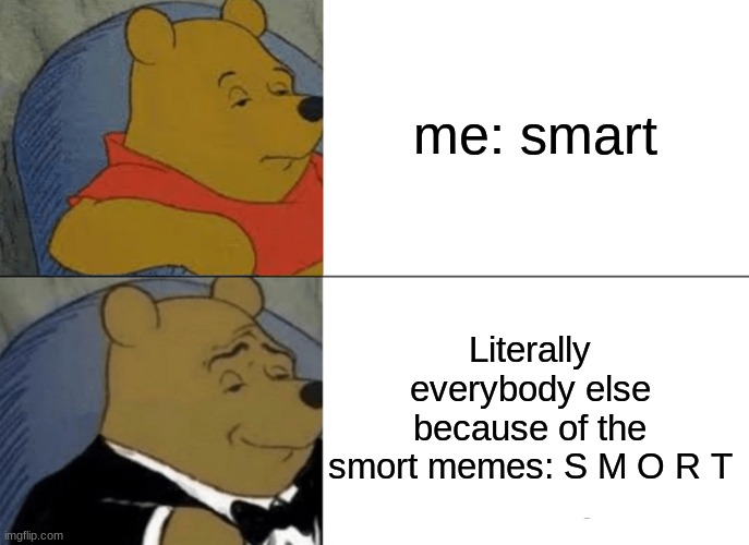 I Feel This Is True |  me: smart; Literally everybody else because of the smort memes: S M O R T | image tagged in memes,tuxedo winnie the pooh,meme man smort,smort,i am smort | made w/ Imgflip meme maker