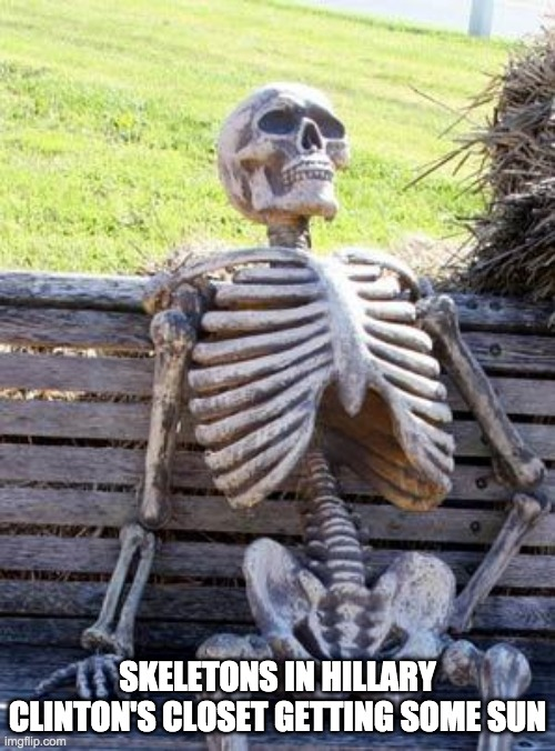 Waiting Skeleton Meme |  SKELETONS IN HILLARY CLINTON'S CLOSET GETTING SOME SUN | image tagged in memes,waiting skeleton | made w/ Imgflip meme maker