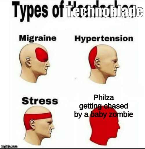 El pepe |  Technoblade; Philza getting chased by a baby zombie | image tagged in types of headaches meme,philza,minecraft,technoblade | made w/ Imgflip meme maker