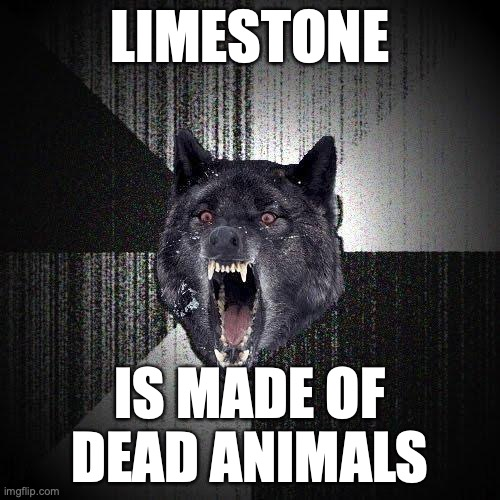 Limestone... Is made of dead animals.