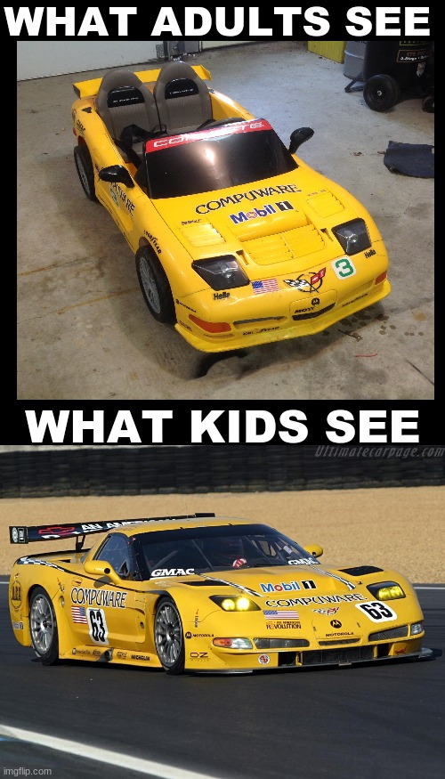 WHAT ADULTS SEE; WHAT KIDS SEE | image tagged in memes,blank transparent square,funny,corvette,cars,childhood | made w/ Imgflip meme maker