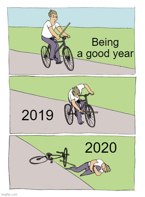 idk what to name this |  Being a good year; 2019; 2020 | image tagged in memes,bike fall,2020 sucks | made w/ Imgflip meme maker