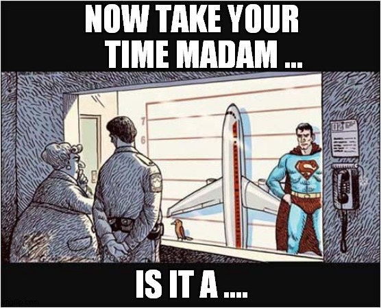 Identity Parade ! |  NOW TAKE YOUR     TIME MADAM ... IS IT A .... | image tagged in superman,identity parade,comics | made w/ Imgflip meme maker