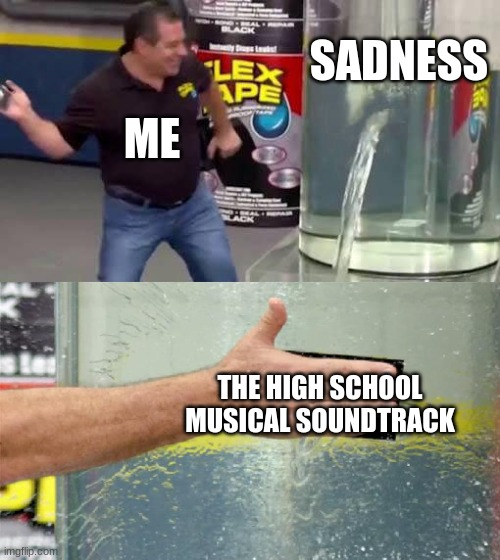 It's really good |  SADNESS; ME; THE HIGH SCHOOL MUSICAL SOUNDTRACK | image tagged in flex tape | made w/ Imgflip meme maker