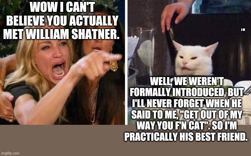 "Smudge the cat |  WOW I CAN'T BELIEVE YOU ACTUALLY MET WILLIAM SHATNER. J M; WELL, WE WEREN'T FORMALLY INTRODUCED, BUT I'LL NEVER FORGET WHEN HE SAID TO ME, ""GET OUT OF MY WAY YOU F'N CAT"". SO I'M PRACTICALLY HIS BEST FRIEND. 