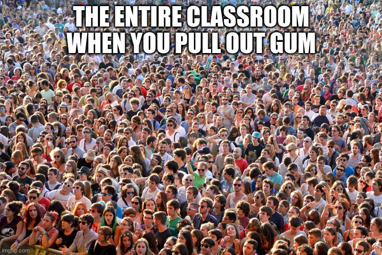 skool |  THE ENTIRE CLASSROOM WHEN YOU PULL OUT GUM | image tagged in gum,school memes | made w/ Imgflip meme maker
