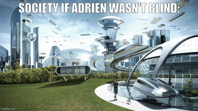 The future world if |  SOCIETY IF ADRIEN WASN'T BLIND: | image tagged in the future world if | made w/ Imgflip meme maker