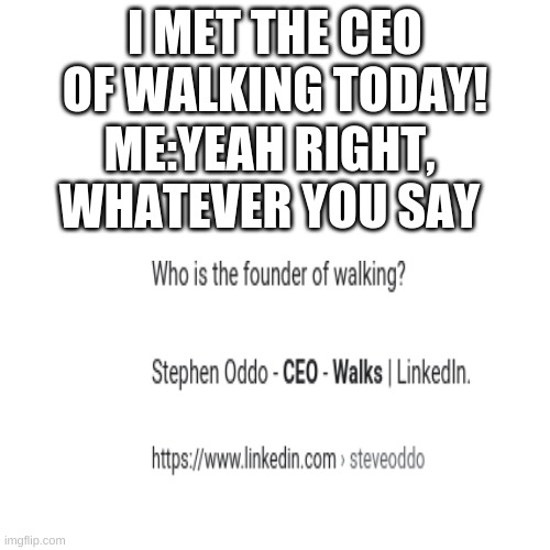 Blank Transparent Square Meme |  I MET THE CEO OF WALKING TODAY! ME:YEAH RIGHT, WHATEVER YOU SAY | image tagged in memes,blank transparent square | made w/ Imgflip meme maker