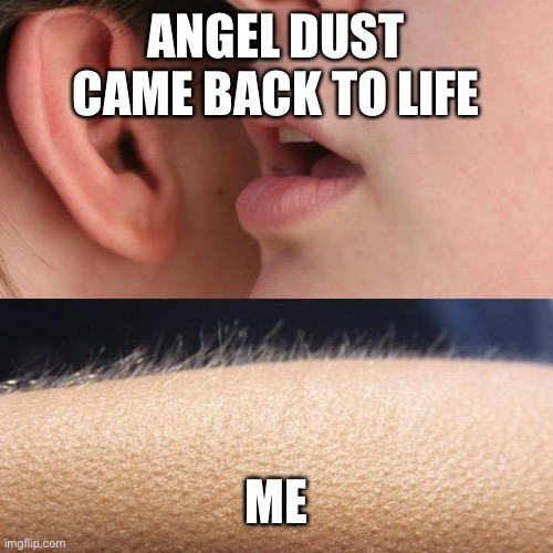 Yes. |  ANGEL DUST CAME BACK TO LIFE; ME | image tagged in whisper and goosebumps,angel dust | made w/ Imgflip meme maker